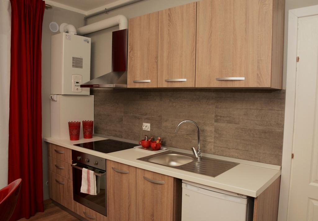 Kitchen Platinia Cluj city center Apartments for rent red